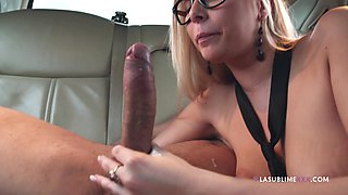 Horny boss makes his secretary suck his dick in the limo - Nikki Dream
