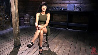 Curly haired ebony Amethyst Banks abused in bondage with a ball gag