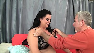 Plumper beauty lets her buddy suck her tits kiss and lick