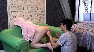 Sweet Japanese teen gets her shaved pussy toyed and fucked