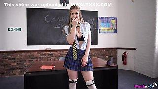 Teen in a school uniform masturbating