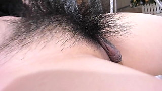 Hairy cute Asian camgirl pees and fucks ass
