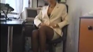 Gangbang in office. Retro in stockings
