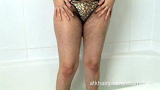 Scary hairy Rani takes a bath