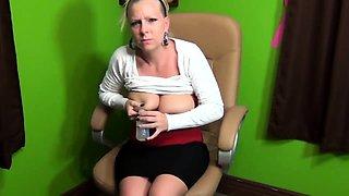 Sexy milf with fabulous big breasts milks her hard nipples