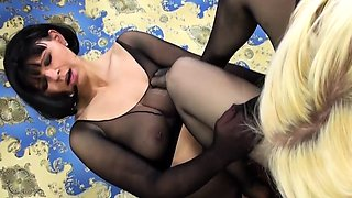 Two sensuous milfs in nylons satisfy their lesbian desires