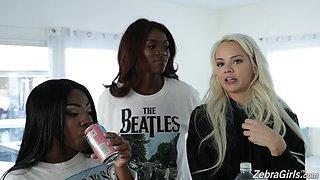 Charming white teen Elsa Jean and ebony porn model Anne Amari give an interview