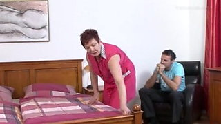 Young boy fucks a dirty old mature maid