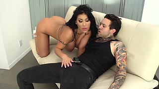 August Taylor is a brunette with big tits seduced for a shag