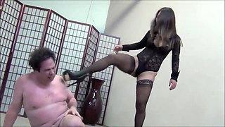 Hot Asian mistress ballbusting and destroys slave nuts