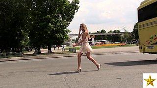 Astonishing European teen in white panties upskirt outside