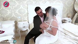 Busty brunette bride