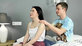 Cute black haired Sasha Mamaeva meets the defloration guy