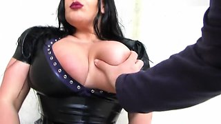 Hot Busty Lacing Bitch - Dirty Outdoor Blowjob Handjob with Latex Gloves - Cum on my Tits