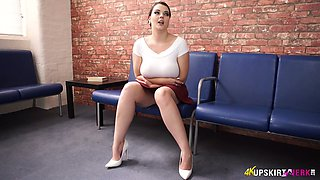 Plum babe Cherry Blush bands over and shows off her captivating upskirt pussy