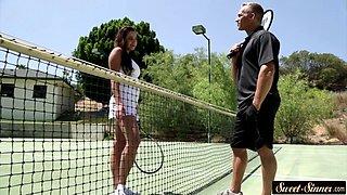 Teen steapdaughter rides cock after tennis