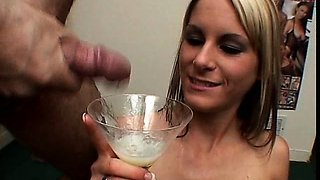 Sperm loving blondie Courtney S swallowing in a gangbang