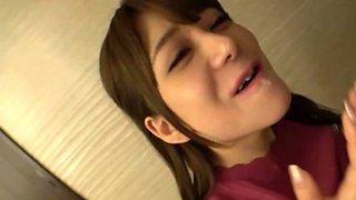 Adorable Asian teen Arimura Nozomi's amazing POV blowjob