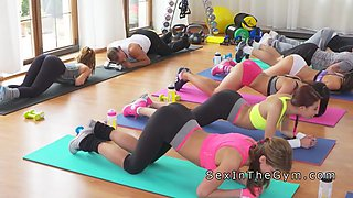 lesbians stripping leggings at the gym