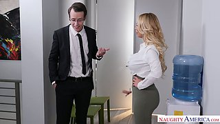 Incredibly sexy curvy blonde boss Nikki Benz is fucked mish on the table