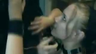 Emo girl gets a facial in front of everybody