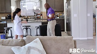 Young housewife Trinity St Clair is fucked by horny black masseur