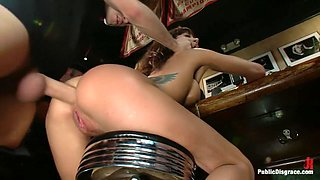 Gia DiMarco gets Double Penetrated at a Public Bar