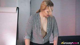 Attractive office slut Aston Wilde and her perky hard nipples