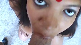 Chubby Indian babe swallows cum after being nailed by a stranger