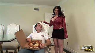 Busty brunette, Daphne Rosen is cheating on her partner with a horny pizza delivery guy