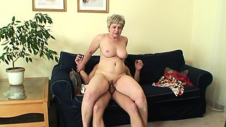 Lonely 60 years old granny swallows big cock