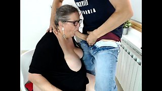 Young skinny guy fuck old fat woman and get a blowjob