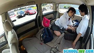Beautiful looking Japanese schoolgirl enjoys sex in a car