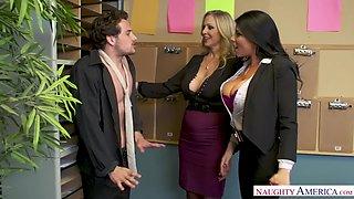 Hot bosses seducing innocent employee at office