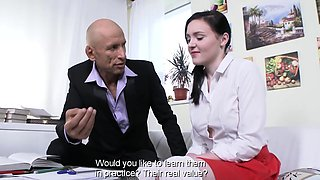 English teacher is there to give her the first sex lessons