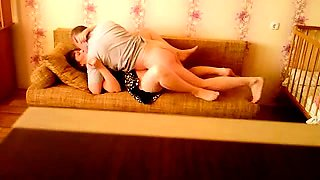 Sexy Russian wife gets drilled missionary style on the couch