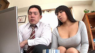 Big breasted Nozomi Mikimoto wants to ride a mature man's penis