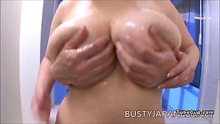 Rin Aoki big tits at the bathroom