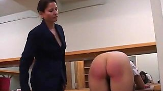 Sarah spanked otk and with the hairbrush on her barebottom