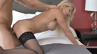 Horny mature MILF fucked by young stud while husband not home
