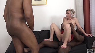 Mature Gets Black Cocks In Pussy And Mouth Likes Rough