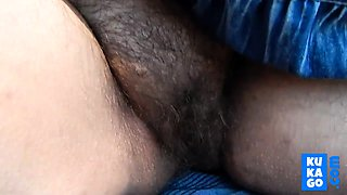 Hairy mature flashing outdoor