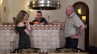 DADDY4K. Old daddy creampies son's new girlfriend after...