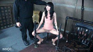 Petite skinny goth teen Charlotte Sartre suffers anal bondage abuse