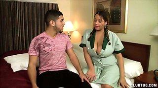 Sexy Latina maid Selena Star enters Joeys room wearing a