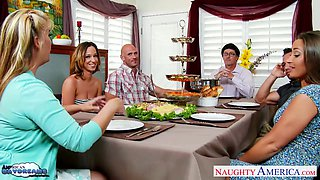 American daydreams or crazy threesome sex after family dinner