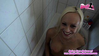 German skinny blonde teen ass to mouth on shower