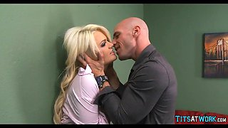 Blonde with Big Tits gets what She wants at work