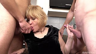 Aged whore Mia gets her sexual kicks from two younger men