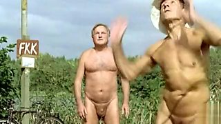 Nudist colony sex scene with hot kissing
